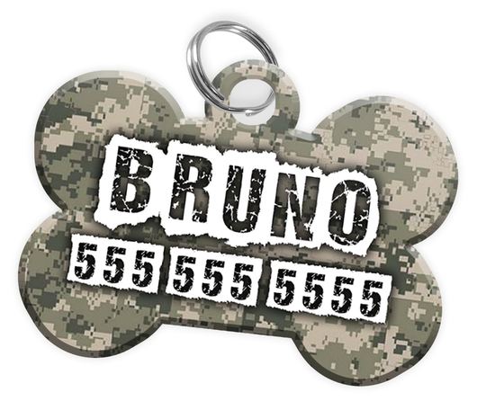 Digital Camo Dog Tag for Pets Personalized Custom Pet Tag with Pets Name & Contact Number [Multiple Font Choices] [USA COMPANY] - EliteFanCo