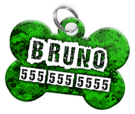 Digital Camo (Green) Dog Tag for Pets Personalized Custom Pet Tag with Pets Name & Contact Number [Multiple Font Choices] [USA COMPANY] - EliteFanCo