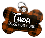 Plaid (Brown) Dog Tag for Pets Personalized Custom Pet Tag with Pets Name & Contact Number [Multiple Font Choices] [USA COMPANY]
