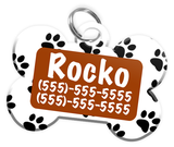 Paw Print Pattern (Brown) Dog Tag for Pets Personalized Custom Pet Tag with Pets Name & Contact Number [Multiple Font Choices] [USA COMPANY]