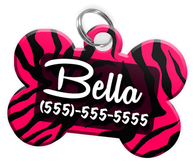 Animal Print Pink Zebra Dog Tag for Pets Personalized Custom Pet Tag with Pets Name & Contact Number [Multiple Font Choices] [USA COMPANY] - EliteFanCo