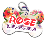 Flowers Pattern Disney Themed Personalized Custom Pet Tag ID