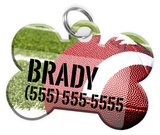 Football Dog Tag for Pets Personalized Custom Pet Tag with Pets Name & Contact Number [Multiple Font Choices] [USA COMPANY] - EliteFanCo