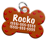 Heart Pattern (Brown) Dog Tag for Pets Personalized Custom Pet Tag with Pets Name & Contact Number [Multiple Font Choices] [USA COMPANY] | ElitePetFan.com