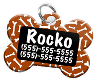 Dog Bone Pattern (Brown) Dog Tag for Pets Personalized Custom Pet Tag with Pets Name & Contact Number [Multiple Font Choices] [USA COMPANY]