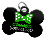 Disney Green Bow Tie Personalized Custom Pet Tag ID - EliteFanCo