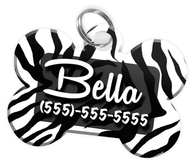 Animal Print Zebra Dog Tag for Pets Personalized Custom Pet Tag with Pets Name & Contact Number [Multiple Font Choices] [USA COMPANY] - EliteFanCo