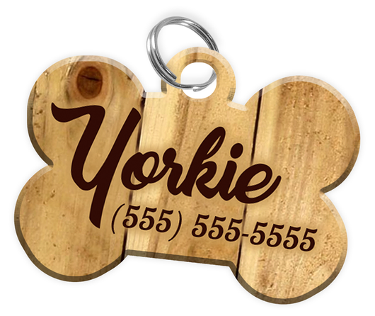 Wood Background Dog Tag for Pets Personalized Custom Pet Tag with Pets Name & Contact Number [Multiple Font Choices] [USA COMPANY]
