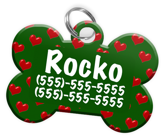 Heart Pattern (Green) Dog Tag for Pets Personalized Custom Pet Tag with Pets Name & Contact Number [Multiple Font Choices] [USA COMPANY] - EliteFanCo