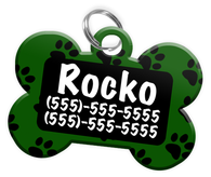 Paw Print Pattern (Green) Dog Tag for Pets Personalized Custom Pet Tag with Pets Name & Contact Number [Multiple Font Choices] [USA COMPANY]