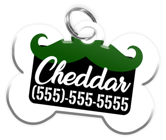 Funny Mustache (Green) Dog Tag for Pets Personalized Custom Pet Tag with Pets Name & Contact Number [Multiple Font Choices] [USA COMPANY] - EliteFanCo