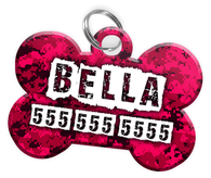 Digital Camo (Hot Pink) Dog Tag for Pets Personalized Custom Pet Tag with Pets Name & Contact Number [Multiple Font Choices] [USA COMPANY] | ElitePetFan.com