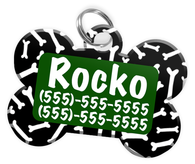 Dog Bone Pattern (Green) Dog Tag for Pets Personalized Custom Pet Tag with Pets Name & Contact Number [Multiple Font Choices] [USA COMPANY]