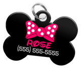 Pink Bow Tie Dog Tag for Pets Personalized Custom Pet Tag with Pets Name & Contact Number [Multiple Font Choices - Disney Themed Font Available] | ElitePetFan.com