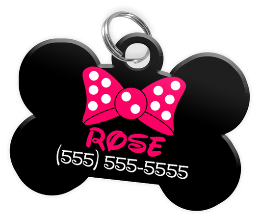 Pink Bow Tie Dog Tag for Pets Personalized Custom Pet Tag with Pets Name & Contact Number [Multiple Font Choices - Disney Themed Font Available]