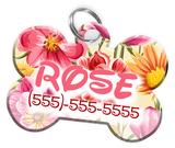 Flowers Pattern Disney Themed Personalized Custom Pet Tag ID - EliteFanCo