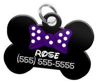 Purple Bow Tie Dog Tag for Pets Personalized Custom Pet Tag with Pets Name & Contact Number [Multiple Font Choices - Disney Themed Font Available]