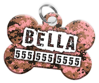 Digital Camo (Pink) Dog Tag for Pets Personalized Custom Pet Tag with Pets Name & Contact Number [Multiple Font Choices] [USA COMPANY] | ElitePetFan.com