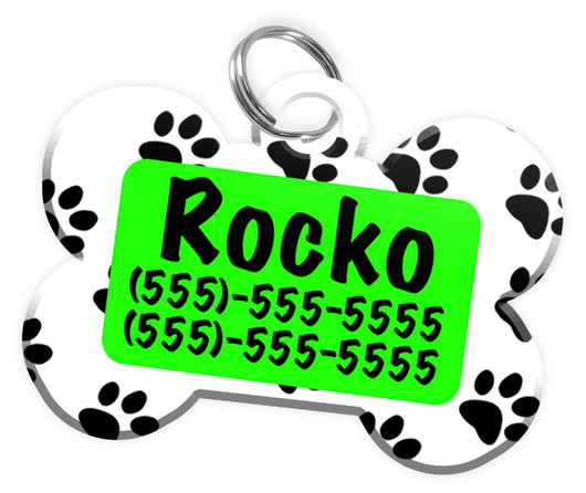Paw Print Pattern (Light Green) Dog Tag for Pets Personalized Custom Pet Tag with Pets Name & Contact Number [Multiple Font Choices] [USA COMPANY]
