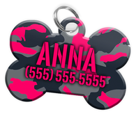 Camo (Pink) Dog Tag for Pets Personalized Custom Pet Tag with Pets Name & Contact Number [Multiple Font Choices] [USA COMPANY] | ElitePetFan.com