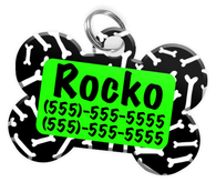 Dog Bone Pattern (Light Green) Dog Tag for Pets Personalized Custom Pet Tag with Pets Name & Contact Number [Multiple Font Choices] [USA COMPANY]