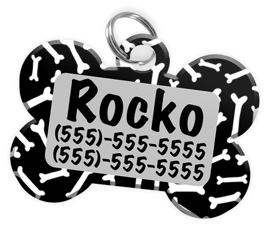 Dog Bone Pattern (Grey) Dog Tag for Pets Personalized Custom Pet Tag with Pets Name & Contact Number [Multiple Font Choices] [USA COMPANY]