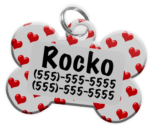 Heart Pattern (Grey) Dog Tag for Pets Personalized Custom Pet Tag with Pets Name & Contact Number [Multiple Font Choices] [USA COMPANY]