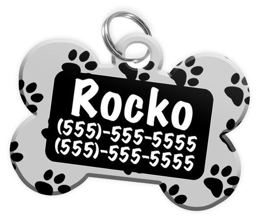 Paw Print Pattern (Grey) Dog Tag for Pets Personalized Custom Pet Tag with Pets Name & Contact Number [Multiple Font Choices] [USA COMPANY]