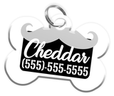 Funny Mustache (Grey) Dog Tag for Pets Personalized Custom Pet Tag with Pets Name & Contact Number [Multiple Font Choices] [USA COMPANY] | ElitePetFan.com