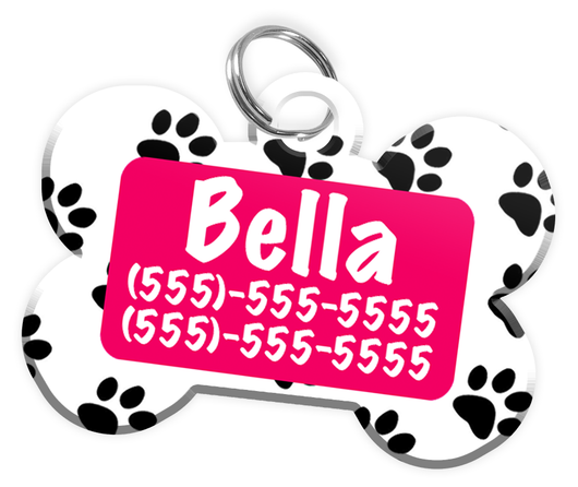 Paw Print Pattern (Hot Pink) Dog Tag for Pets Personalized Custom Pet Tag with Pets Name & Contact Number [Multiple Font Choices] [USA COMPANY] | ElitePetFan.com