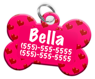 Heart Pattern (Hot Pink) Dog Tag for Pets Personalized Custom Pet Tag with Pets Name & Contact Number [Multiple Font Choices] [USA COMPANY]