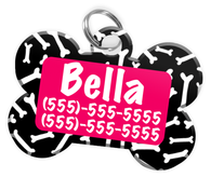 Dog Bone Pattern (Hot Pink) Dog Tag for Pets Personalized Custom Pet Tag with Pets Name & Contact Number [Multiple Font Choices] [USA COMPANY]