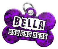 Digital Camo (Purple) Dog Tag for Pets Personalized Custom Pet Tag with Pets Name & Contact Number [Multiple Font Choices] [USA COMPANY] | ElitePetFan.com