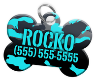 Camo (Turquoise) Dog Tag for Pets Personalized Custom Pet Tag with Pets Name & Contact Number [Multiple Font Choices] [USA COMPANY] | ElitePetFan.com