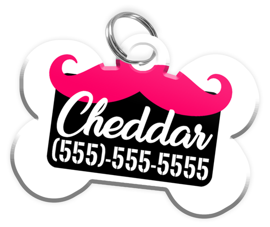 Funny Mustache (Hot Pink) Dog Tag for Pets Personalized Custom Pet Tag with Pets Name & Contact Number [Multiple Font Choices] [USA COMPANY] - EliteFanCo