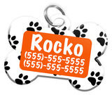 Paw Print Pattern (Orange) Dog Tag for Pets Personalized Custom Pet Tag with Pets Name & Contact Number [Multiple Font Choices] [USA COMPANY]