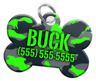 Camo (Green) Dog Tag for Pets Personalized Custom Pet Tag with Pets Name & Contact Number [Multiple Font Choices] [USA COMPANY] | ElitePetFan.com