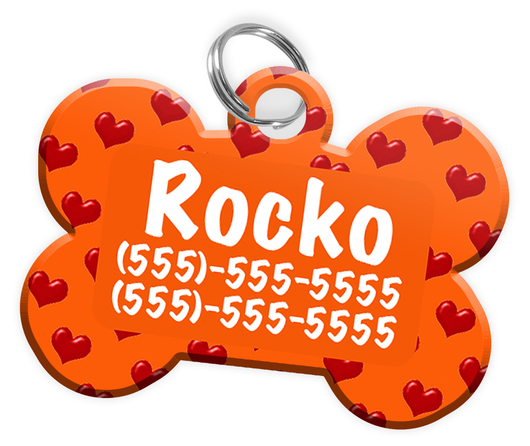 Heart Pattern (Orange) Dog Tag for Pets Personalized Custom Pet Tag with Pets Name & Contact Number [Multiple Font Choices] [USA COMPANY] - EliteFanCo