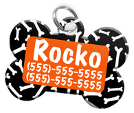 Dog Bone Pattern (Orange) Dog Tag for Pets Personalized Custom Pet Tag with Pets Name & Contact Number [Multiple Font Choices] [USA COMPANY]
