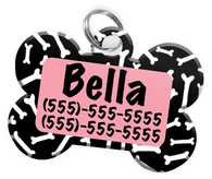 Dog Bone Pattern (Pink) Dog Tag for Pets Personalized Custom Pet Tag with Pets Name & Contact Number [Multiple Font Choices] [USA COMPANY]