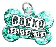 Digital Camo (Turquoise) Dog Tag for Pets Personalized Custom Pet Tag with Pets Name & Contact Number [Multiple Font Choices] [USA COMPANY] - EliteFanCo