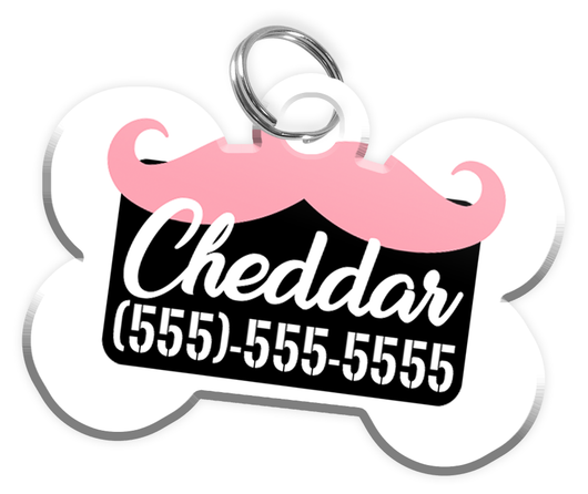 Funny Mustache (Pink) Dog Tag for Pets Personalized Custom Pet Tag with Pets Name & Contact Number [Multiple Font Choices] [USA COMPANY] - EliteFanCo