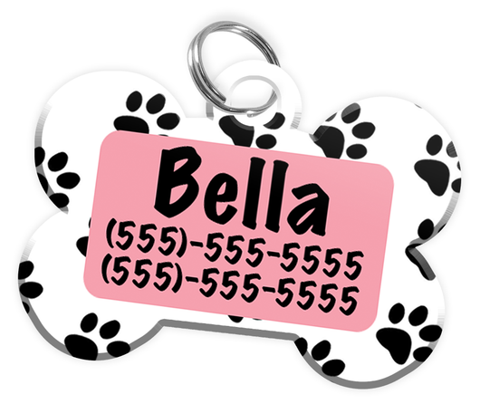 Paw Print Pattern (Pink) Dog Tag for Pets Personalized Custom Pet Tag with Pets Name & Contact Number [Multiple Font Choices] [USA COMPANY] | ElitePetFan.com