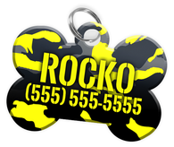 Camo (Yellow) Dog Tag for Pets Personalized Custom Pet Tag with Pets Name & Contact Number [Multiple Font Choices] [USA COMPANY] | ElitePetFan.com