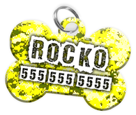 Digital Camo (Yellow) Dog Tag for Pets Personalized Custom Pet Tag with Pets Name & Contact Number [Multiple Font Choices] [USA COMPANY] - EliteFanCo