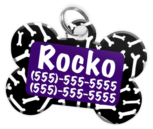 Dog Bone Pattern (Purple) Dog Tag for Pets Personalized Custom Pet Tag with Pets Name & Contact Number [Multiple Font Choices] [USA COMPANY] - EliteFanCo