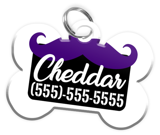 Funny Mustache (Purple) Dog Tag for Pets Personalized Custom Pet Tag with Pets Name & Contact Number [Multiple Font Choices] [USA COMPANY] - EliteFanCo