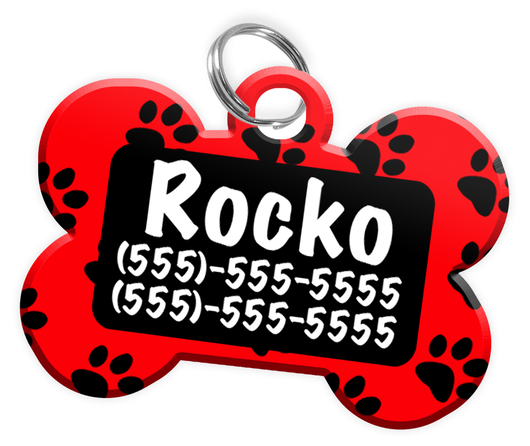 Paw Print Pattern (Red) Dog Tag for Pets Personalized Custom Pet Tag with Pets Name & Contact Number [Multiple Font Choices] [USA COMPANY]