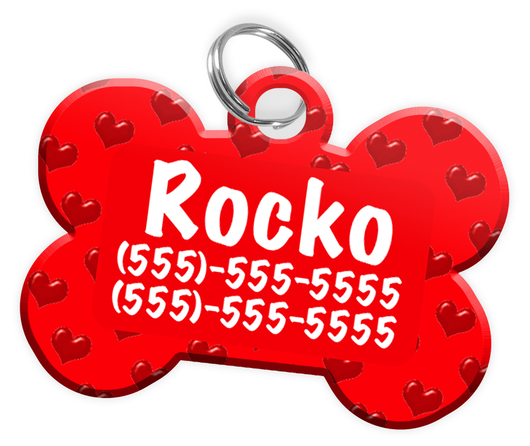 Heart Pattern (Red) Dog Tag for Pets Personalized Custom Pet Tag with Pets Name & Contact Number [Multiple Font Choices] [USA COMPANY] - EliteFanCo