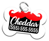 Funny Mustache (Red) Dog Tag for Pets Personalized Custom Pet Tag with Pets Name & Contact Number [Multiple Font Choices] [USA COMPANY] | ElitePetFan.com